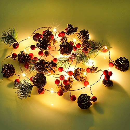 Fun Gift Christmas Garland Lights String 6.7Ft Battery Operated Decorations Light, with Pine Cone Red Berry Jingle Bell 20 LED for Xmas Decor Party Fireplace Door Tree Indoor Outdoor