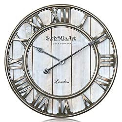 Wooden Wall Clocks Battery Operated Decorative Living room 21 inch ,Home,Office,Extra Large Vintage Wall Clock Wood Frame Silent Non Ticking,3D Roman Numeral Mantel Wall Clocks Metal Antique,Gray