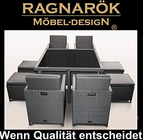 Ragnarök-Möbeldesign PolyRattan - DEUTSCHE Marke - EIGNENE Produktion - 8 Jahre GARANTIE auf UV-Beständigkeit Gartenmöbel Essgruppe Tisch + 4 Stühle & 4 Hocker 12 Polster Platinum Grau - 5