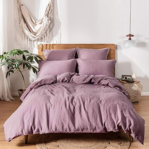 Simple&Opulence 100% Linen Duvet Cover Set 3pcs Stone Washed Natural French Flax Basic Style Solid Color Bedding with Button Closure (Queen, Purple)
