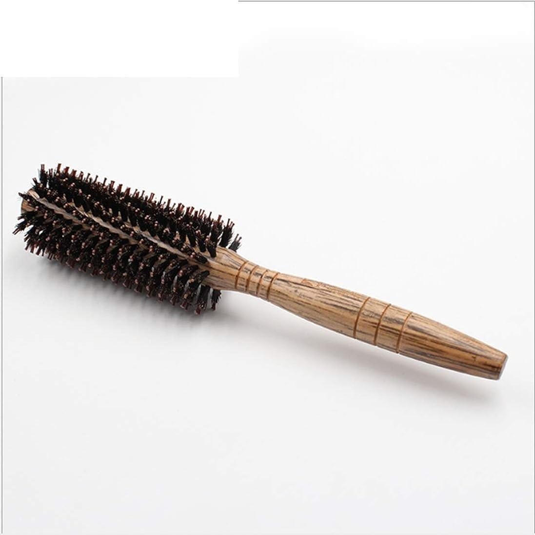 パッケージ透明に規制女性のためのヘアブラシラージフラワーコーム - 24cmの長さ - ヘアブラシ女性は、スタイル、カール、およびドライヘアに吹く乾燥中に使用される木製のハンドルとカーリー&Stragight髪の櫛 (サイズ : M)