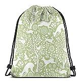 LEPO'S Mochila deportiva con cordón para gimnasio, papel pintado con animales verdes de prado, bolsa con cordón, resistente al agua, ligera, mochila de gimnasio para natación, yoga, unisex