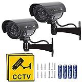 TIMESETL 2Pcs Cámara simulada CCTV Cámara de seguridad simulada con LED rojo parpadeante Cámara de seguridad falsa - Negro