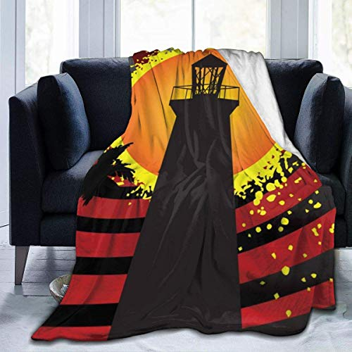 Popcorn In Spring Faro Sunset Throw Blanket Super Soft Comfy Micro Fleece Fuzzy Blanket Manta Decorativa Hipoalergénica