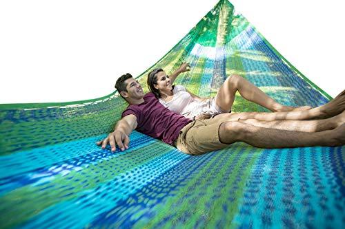 MacaMex MA-00245 hangmat, Mexicaanse nethangmat familiehangmat XXL 4 personen 300 kg, 410 x 300 x 150 cm, blauw