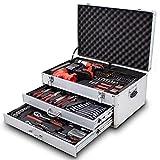 BITUXX 206 tlg Werkzeugkiste komplett Werkzeugkoffer bestückt Werkzeugkasten gefüllt Schubladen inklusive Akkuschrauber Ratschenringschlüssel Ratschenkasten Knarrenkasten Steckschlüssel...