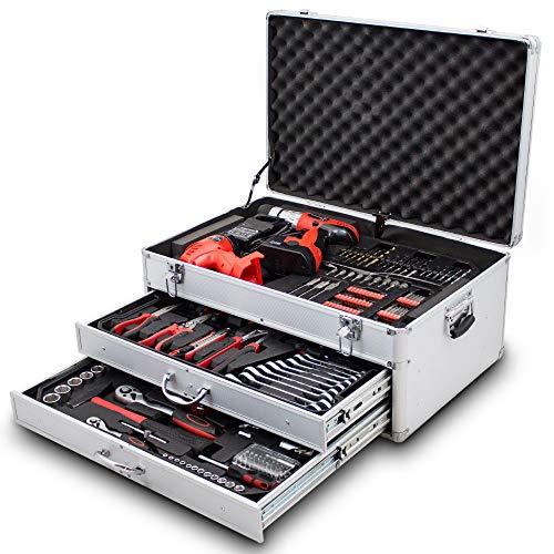 BITUXX® 206 tlg Werkzeugkiste komplett Werkzeugkoffer bestückt Werkzeugkasten gefüllt Schubladen inklusive Akkuschrauber Ratschenringschlüssel Ratschenkasten Knarrenkasten Steckschlüssel Nüsse