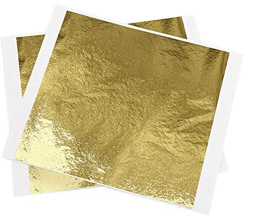 Hojas de hoja de oro,100 hojas de papel de aluminio de imitación de oro, hojas de papel de aluminio metálico Hoja de oro rosa para pintar, manualidades, uñas y decoración de bricolaje (9x9 cm)
