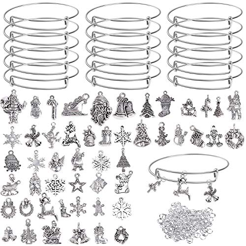 UPINS 15Pcs Silver Expandable Bangle Bracelets Adjustable Wire Blank Bracelets with 50Pcs Tibetan Silver Christmas Charms, 200Pcs Open Jump Rings for Jewelry Making