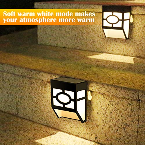 Greluna Solar Wall Lights Outdoor, 2 Modes Solar Led Waterproof Lighting for Deck, Fence, Patio, Front Door, Stair, Landscape, Yard and Driveway Path,Warm White/Color Changing,Pack of 8