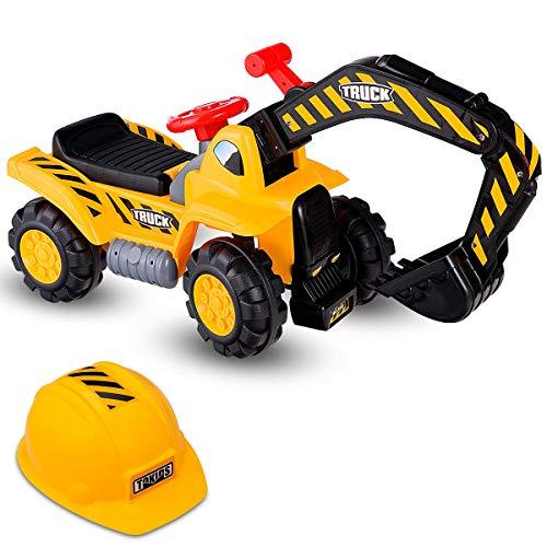 Costzon Kids Ride On Construction Excavator, Outdoor Digger Scooper Tractor Toy W/Safety Helmet, Rocks, Horn, Underneath Storage, Moving Forward/Backward, Pretend Play Ride On Truck (Excavator+Helmet)