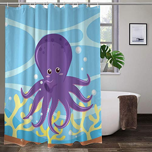 XCBN Personalidad Pulpo Estrella de mar 3D Cortina de Ducha Tela Impermeable Cortina de baño Cortina de Ducha Impermeable A2 180x200cm