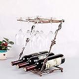 ZGQA-AOC Estante del Vino Durante 6 Copas de Vino y 3 Botellas de Vino de Mesa de Acero Inoxidable de Vino Rack de Las Decoraciones del Arte del Arte