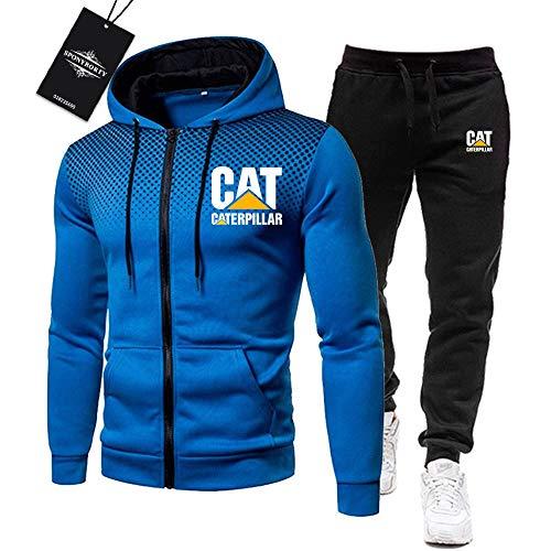 BOLGRTYXC de Los Hombres Chandal Conjunto Trotar Traje Cate.R-Pillar.s Hooded Zipper Chaqueta + Pantalones Deporte R de Los Hombres/blue/XXL