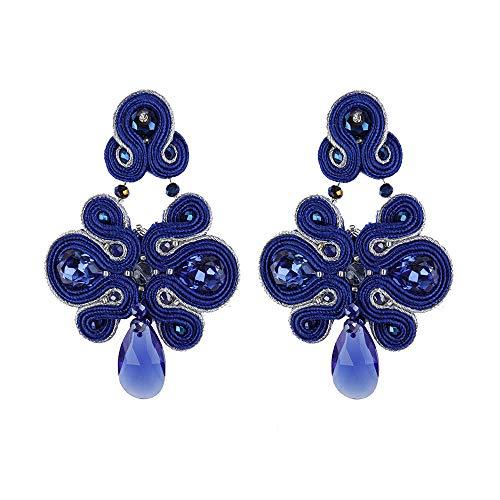 XCWXM KPacTa2021 Soutache de Moda Venta Hecha a Mano Lujo Grandes Pendientes Gota Mujeres Colgante Encanto Bohemio Wholesa-Blue