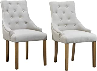 HomeSailing Contemporary Set of 2 Beige Wood Dining Chair with Armrest Pair Kitchen Armchairs High Back Fabric Upholstered with Buttons for Restaurant Living Room Bedroom Side Chairs Reception(Beige)