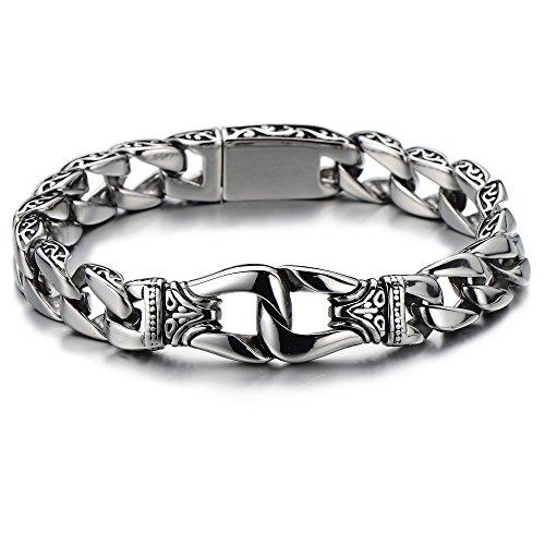 COOLSTEELANDBEYOND Biker Herren Panzerkette Armband aus Edelstahl Farbe Silber Hochglanz poliert