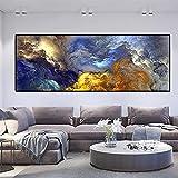 Nubes de colores Cuadros de pared, carteles e impresiones Pintura abstracta en lienzo Pintura al óleo Póster moderno Decoración para sala de estar 40x160cm (16'x63') Sin marco