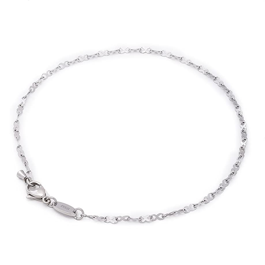 316L Stainless Steel Infinity Ribbon Link Chain - 2MM - Anklet for Women & Girls