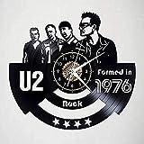 TIANZly Rock Band U2 Reloj de Pared con Disco de Vinilo Negro Decoración Retro para el hogar de 12 Pulgadas con