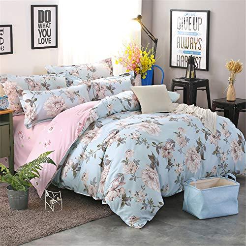 Morbuy Bedding Duvet Cover Set 4pcs for Double King Single Size Bed, Floral Printed Reversible Duvet Set with 1 Quilt Case 1 Flat Sheet 2 Pillowcases (Light cyan,180x220cm /1.8M)