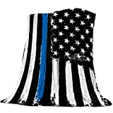 Cozy Warm Lightweight Throw Blankets, Soft Reversible Flannel Fleece Bed Throw Retro Glory Thin Blue Line American Flag Luxury Fuzzy Blankets for Adults/Girls/Kids/Boys/Dogs/Couch, 50' W x 80' L