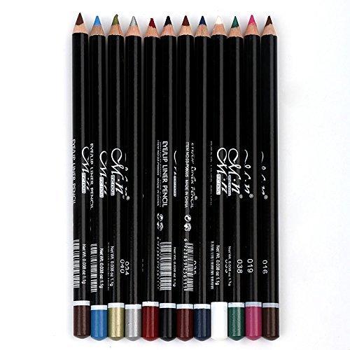 Joyjorya Eyeliner Lidstrich Augenbrauenstift 12 Stücke schwarz wasserdicht kosmetik Make Up Makeup...