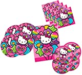 Hello Kitty Party Supplies Tableware for 16 Guests - Includes 16 Dinner Plates, 16 Dessert Plates, 16 Dinner Napkins, and 1 Tablecover, Bundle