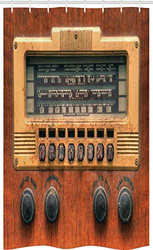 ABAKUHAUS Wijnoogst Douchegordijn, antieke radio's, voor Douchecabine Stoffen Badkamer Decoratie Set met Ophangringen, 120 x 180 cm, Brown Ecru