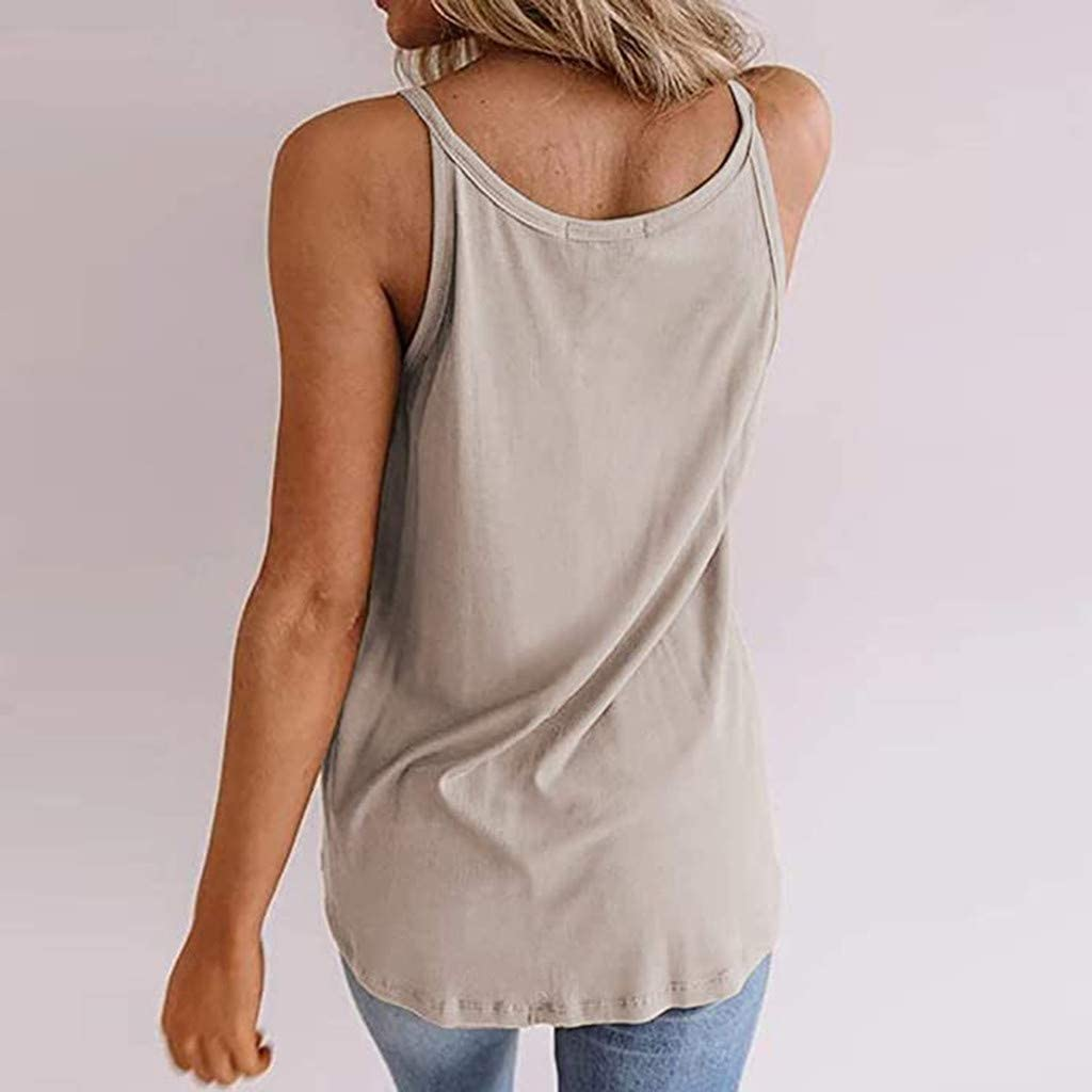 Forwelly Casual V Neck Tank Top for Women Summer Sleeveless Sexy Vest Casual Tee Top Blouse