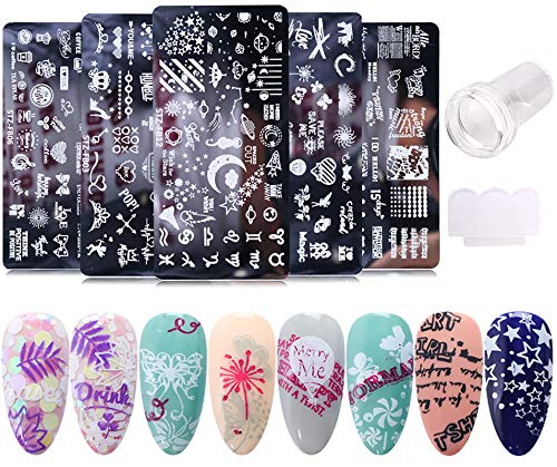 Nail Stamper Set 5PCS Nail Stamping Plates + 1 Stamper + 1 Scraper Lace Word Letter Love Heart Cupid Eros Butterfly Leaf Stars Moon Spaceship Pattern Nail Design Kit Nail Supplies DIY Decoration Tool