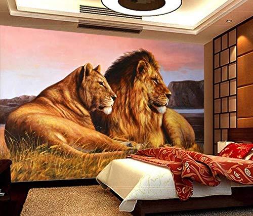 Fototapete 3D Effekt Tapete 3D In Afrika Wiesen Löwe - Moderne Wanddeko Design Tapete Abstraktion Und Kunst-Tiere/Fauna Wohnzimmer Schlafzimmer Dekoration -300x210CM-XXL