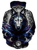 Wolf Sudadera con Capucha para Mujeres Hombres 3D Galaxy Moon Print Unisex Adulto Animal Graphic Black Fleece Pullover Sudadera con Capucha Sudaderas para Uso Diario, Vacaciones XXL