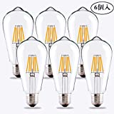 エジソン LED 電球 フィラメント LED電球 E26口金 (6W) 60W形相当 電球色相当2700K 広配光タイプ 360度発光 クリLED電球 クラシック レトロ電球 シャンデリア用LED電球ST64-6W (6個入)