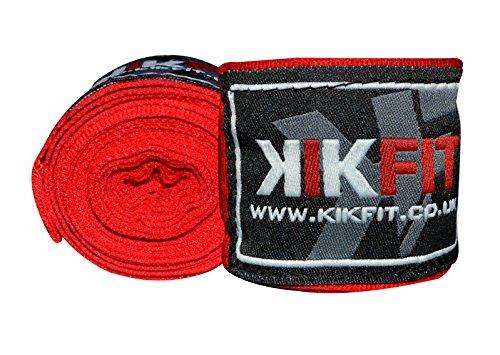 KIKFIT Fasce per Le Mani da Boxe Fasce Rosse per Le nocche del Pugno per Il Supporto del Polso nella Muay Thai Kickboxing MMA o Arti Marziali | Fascia da Boxe Professionale da 3,5 m (Paio)