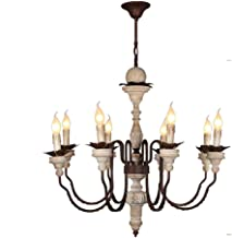 French Country Candle-style Chandelier E14 Light Source Shabby Chic Pendant Light Distressed Chandelier Wood Metal Ceiling...
