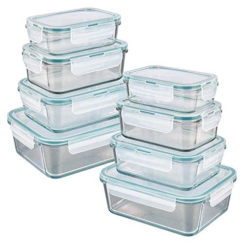 GOURMETmaxx Glas-Frischhaltedosen klick-it 16 TLG. | Spülmaschinen- Mikrowellen- und Gefrierschrankgeeignet | Deckel BPA-frei mit Silikon Dichtungsring und 4-Fach-klick-Verschluss [smaragdgreen]