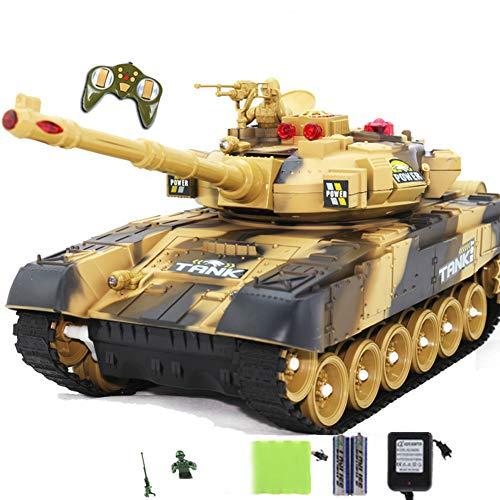 W-star Tanque de Control Remoto Control Remoto inalámbrico Carro infrarrojo Modelo Militar Juguete eléctrico para niños Torreta giratoria de 300 ° Lanza misiles y simula Efectos de luz y Sonido