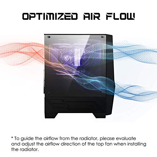 MSI MAG Forge 100M Mid Tower Gaming PC Case (Black, 2 x 120mm RGB Fans, 1 x 120mm Rear Fan, 2 x USB 3.2 Gen1 Type-A, Tempered Glass Panel, Magnetic Dust Filter, ATX, m-ATX, Mini-ITX)