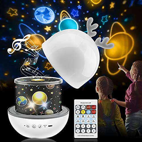 Proiettore Stelle Bambini,360 ° Musica Rotazione Led Luce Notte Bambini con Telecomando USB Lampada Proiettore con 8 Canzoni e 6 Pellicole
