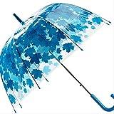 GJJDF Forme de Champignon Transparente Unbrellas Parapluies à Bulles Feuille d'érable Feuilles Vertes Modèle Coupe-Vent Coupe-Vent à Manche Long Parapluie Bleu