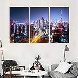 liafa Arte de la Lona Cuadros de la Pared Decoración del hogar Marco 3 Piezas Dubai City Building Nightscape Pintura HD Impresiones Torre Burj Khalifa Poster
