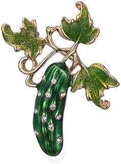 Pulabo - Broche de esmalte de pepino para mujer, diseño de flores, para bufanda, regalo de calidad superior y creativetrust