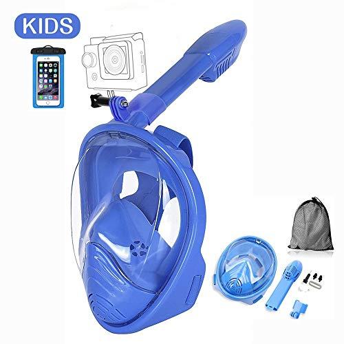 Churidy Tauchmaske Faltbare Vollgesichtsmaske Schnorchelmaske,aus Silikon Vollmaske mit 180 Grad Blickfeld und Kamerahaltung, 100% Anti-Fog/Anti-Leak für Kinder und Erwachsene