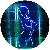 Dance Girl Club Bar Pub Dual Color LED看板 ネオンプレート サイン 標識 緑色 + 青色 400 x 600mm st6s46-i3423-gb