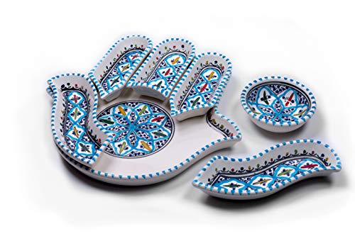 Kamsah 7 Piece Plate Set & Serving Platter, Custom Hand-Painted Ceramic Appetizer Tray Serving Dishes for Celebrations, Parties and Events (Large, Turquoise)