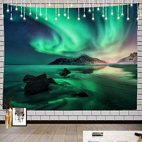 Batmerry Northern Lights Sky Stars Tapestry, Space Beautiful Galaxy Night Starry Image Picnic Mat Beach Towel Wall Art Decoration for Bedroom Living Room Dorm, 59.1 x 82.7 Inches, Green