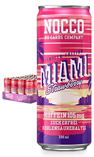 NOCCO BCAA Miami Strawberry 24 x 330 ml incl. deposit protein-rich energy drink without sugar No Carbs Company Vitamin and Caffeine Boost