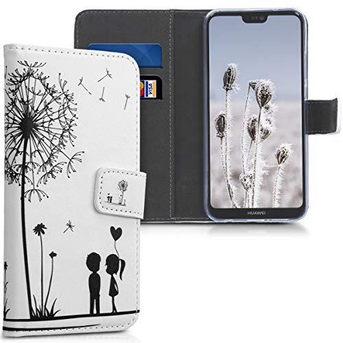 kwmobile Carcasa Compatible con Huawei P20 Lite - Funda de Cuero sintético niños y Diente león - con Tarjetero