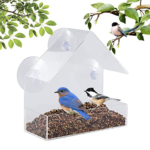 BAVISION Window Bird Feeders – Strong 3 Suction Cups Hanging Wild Bird Feeder – Clear Acrylic Housing – Easy to Clean, Bird House with Drain Holes – Great Gifts Idea